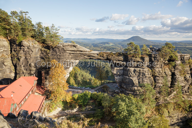 photo showing Pravcicka Brana Pravcice Gate Natural Sandstone Arch And View Bohemian Switzerland, Hrensko, Usti Na