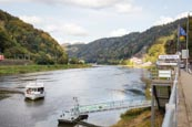 River Elbe With Public Transport Ferry, Bohemian Switzerland, Hrensko, Usti Nad Labem, Czech Republi