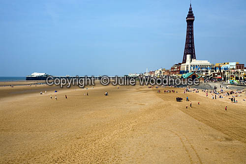 photo showing Blackpool Beach, North Pier & Tower