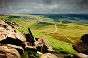 Hathersage Moor, View From Higger Tor Towards Carl Wark, Derbyshire, England