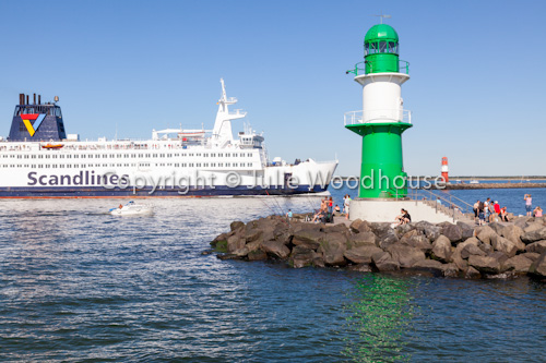 photo showing Lighthouses With Scandlines Ferry, Warnemuende, Mecklenburg Vorpommern, Germany