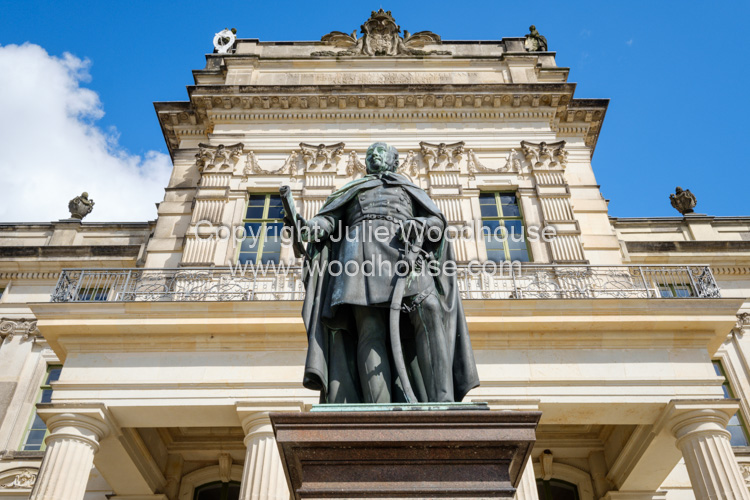 photo showing Palace With Statue Of Friedrich Franz I, Grand Duke Of Mecklenburg, Ludwigslust, Mecklenburg-Vorpomm