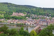 View Over City With The Castle, Altstadt And River Neckar, Heidelberg, Baden-Württemberg, Germany