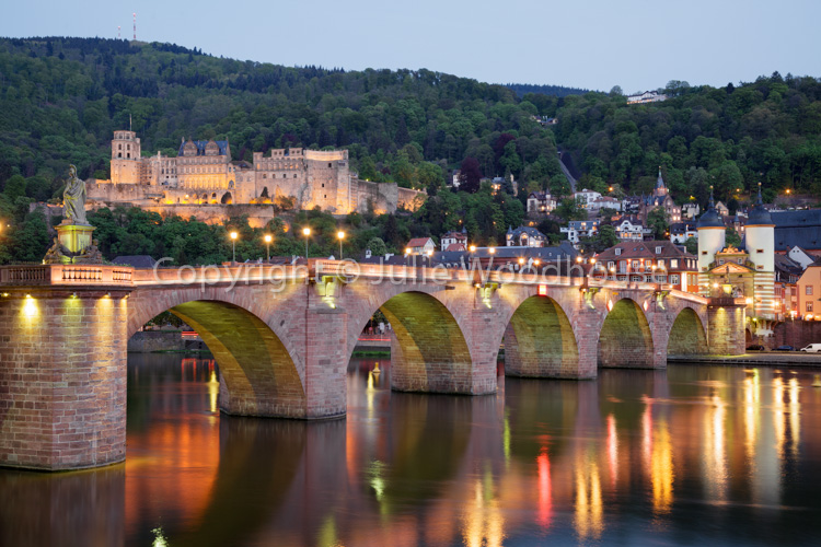 photo showing Alte Brucke, Castle And River Neckar, Heidelberg, Baden-Württemberg, Germany