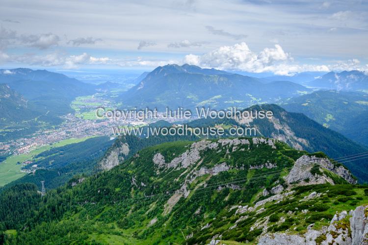 photo showing View From The Alpspitze Over Garmisch Partenkirchen, Garmisch-Partenkirchen, Upper Bavaria, Bavaria,