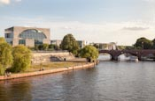 River Spree With Moltke Bridge And Bundeskanzleramt, Berlin, Germany
