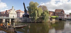 Thumbnail image of Harbour with River Ilmenau and Old Crane, Luneburg, Lower Saxony, Germany