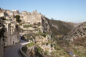 Torrente Gravina With Town Along Via Madonna Delle Virtu With Convent Of Saint Agostino, Matera, Bas