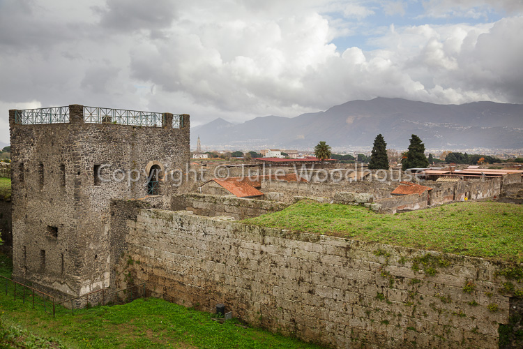 photo showing View Over The City With Guard Tower, Pompeii, Campania, Italy