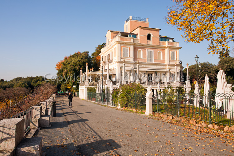 photo showing Casina Valadier Restaurant In The Pincio Gardens, Rome, Italy