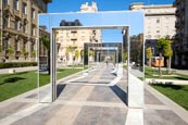 Mirror Structures By Daniel Buren On Piazza Verdi In La Spezia, Liguria, Italy