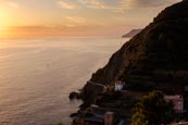 Sunset View Of The Coast From Riomaggiore, Cinque Terre, Liguria, Italy