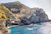 View Over The Town With Its Colourful Houses In Manarola, Cinque Terre, Liguria, Italy