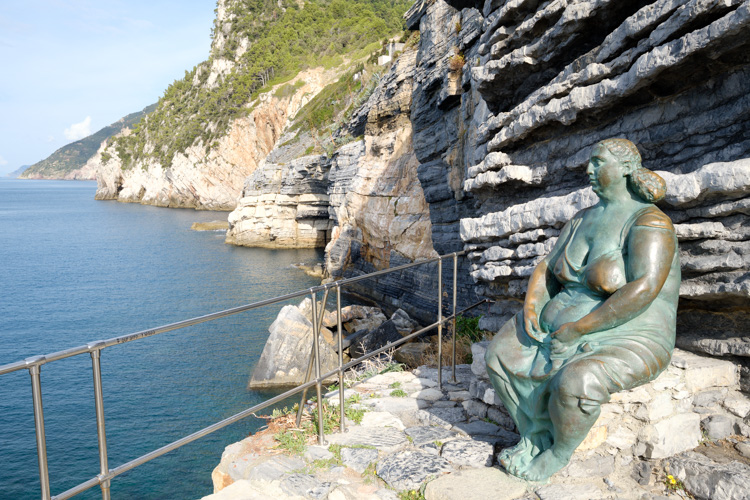 photo showing Bronze Statue Called Mother Earth By Scorzelli At Porto Venere, Liguria, Italy