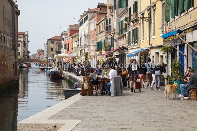 photo showing Canal Side Restaurant In Cannaregio, Venice, Veneto, Italy