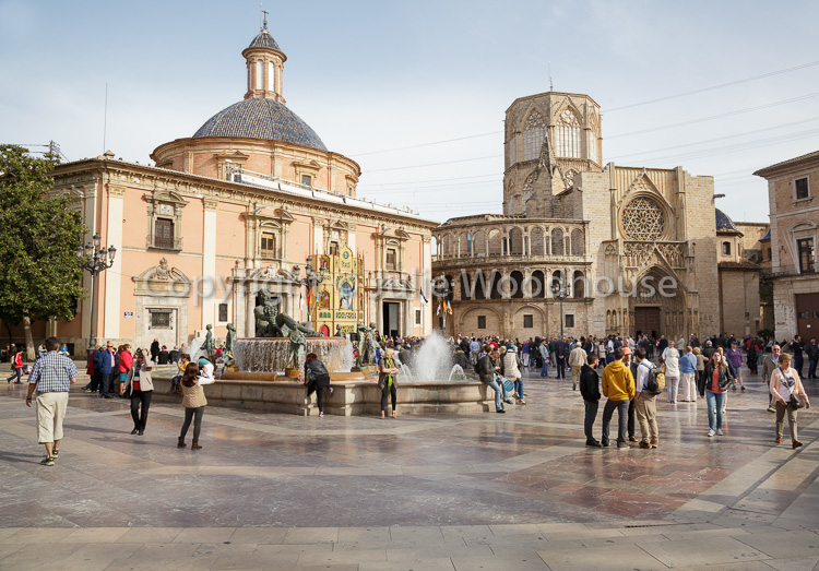 photo showing Plaza De La Virgen With The Cathedral And The Basilica De Virgen De Los Desamparados, Valencia, Spai
