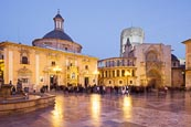 Thumbnail image of Plaza de la Virgen with the Cathedral and The Basilica de Virgen de Los Desamparados, Valencia, Spai